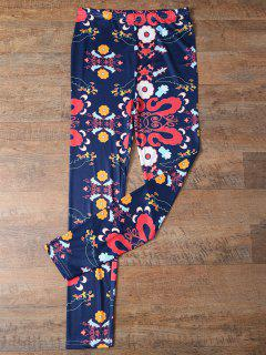 Slimming Tiny Floral Pattern Leggings - Purplish Blue M