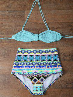 Knitted Multiway High Rise Bikini - Turquoise M