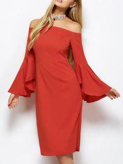 Off The Shoulder Slit Pencil Dress - Red S