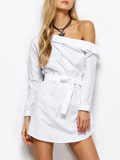 Belted One Shoulder Dress - White S