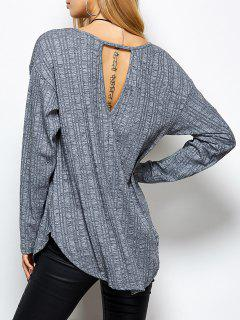 Cuello En V Fotografica Camiseta Floja - Gris M