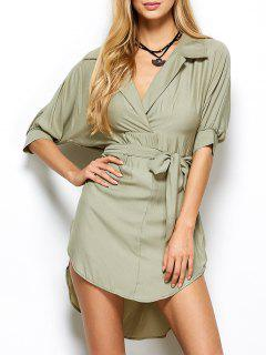 High Low Belted Surplice Shirt Dress - Light Green 2xl