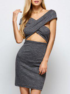 Heathered Wraped Sweater Dress - Gray M
