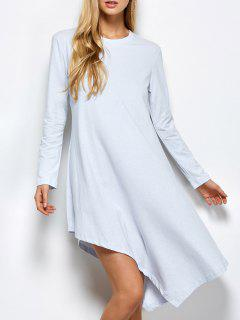 Asymmetric Full Sleeve Dress - Light Grey L