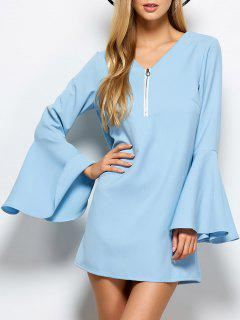 Flare Sleeve Fitting Mini Dress - Light Blue L