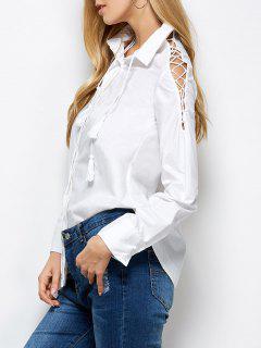 Chemise Boyfriend Shirt Avec Col à Revers à Manches Avec Bretelles - Blanc Xl