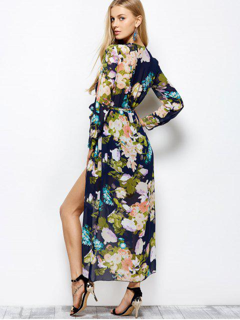 fashion Long Sleeve Floral Maxi Dress with Slit - FLORAL 2XL Mobile