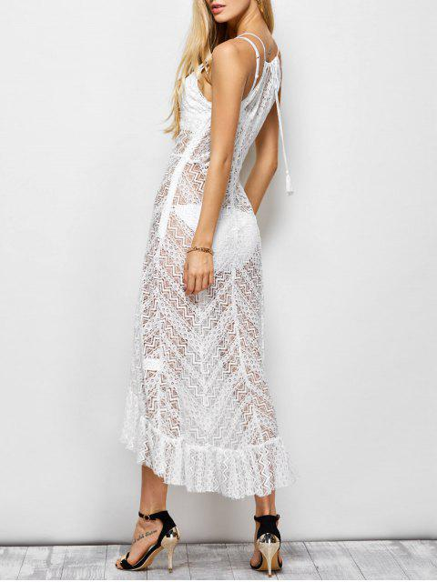 trendy Ruffles See Through Maxi Cami Dress - WHITE L Mobile