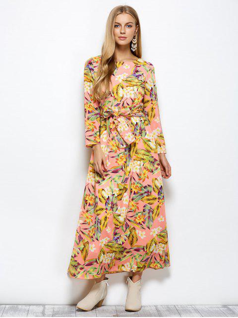 best Long Sleeve Floral Print Belted Maxi Dress - FLORAL 2XL Mobile