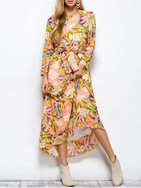 online Long Sleeve Floral Print Belted Maxi Dress - FLORAL XL Mobile