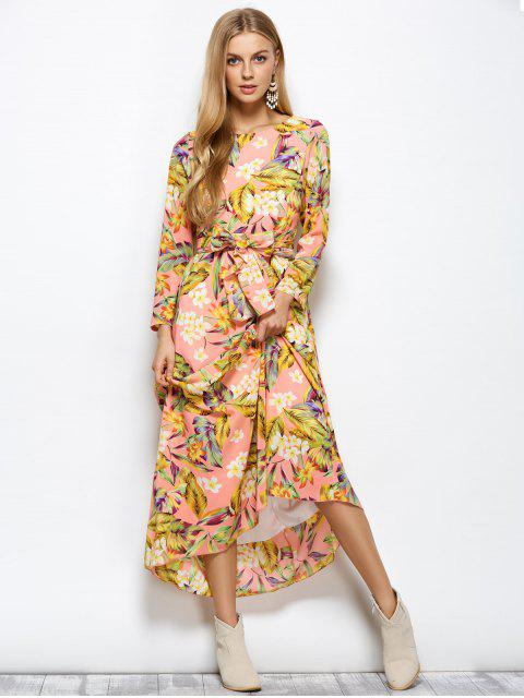 new Long Sleeve Floral Print Belted Maxi Dress - FLORAL L Mobile