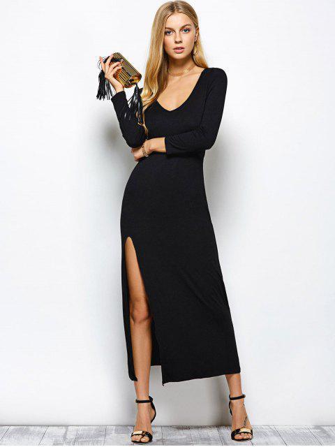 affordable Plunge Neck Long Sleeve Maxi Dress with Slit - BLACK M Mobile