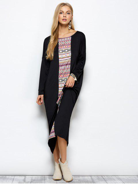 outfits Batwing Sleeve Tribal Print Maxi Dress with Pocket - BLACK 2XL Mobile