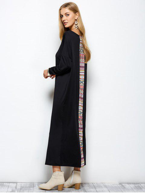 shop Batwing Sleeve Tribal Print Maxi Dress with Pocket - BLACK XL Mobile