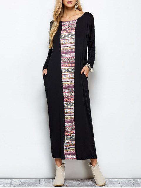shops Batwing Sleeve Tribal Print Maxi Dress with Pocket - BLACK L Mobile