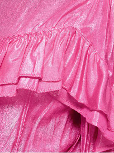 hot Stand Neck Ruffles Blouse - PINK M Mobile