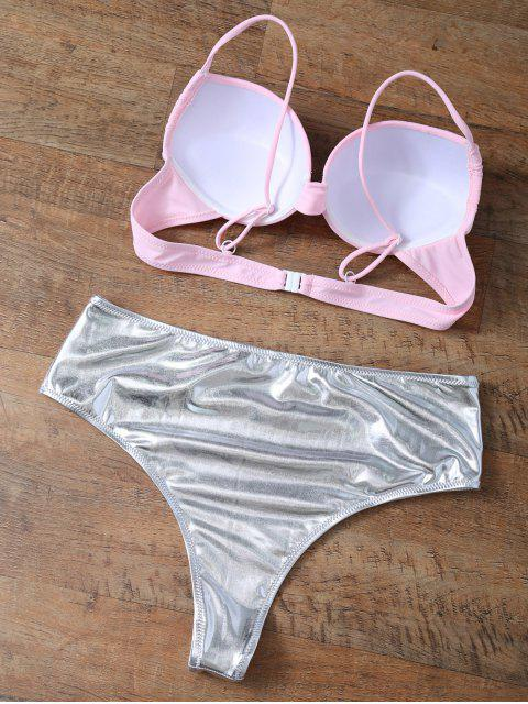 fashion Underwire Bikini Top and Metallic Bottoms - PINK + SILVER S Mobile