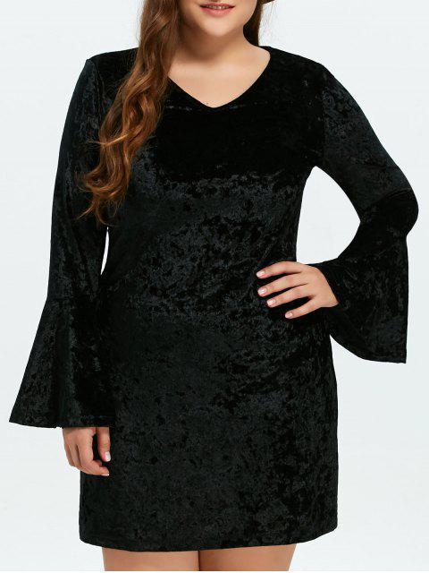 affordable Belled Sleeve Plus Size Velvet Dress - BLACK 2XL Mobile