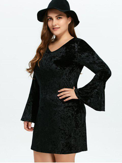 buy Belled Sleeve Plus Size Velvet Dress - BLACK XL Mobile