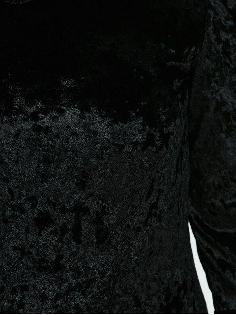 womens Belled Sleeve Plus Size Velvet Dress - BLACK L Mobile