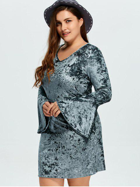 women Belled Sleeve Plus Size Velvet Dress - GREEN 3XL Mobile