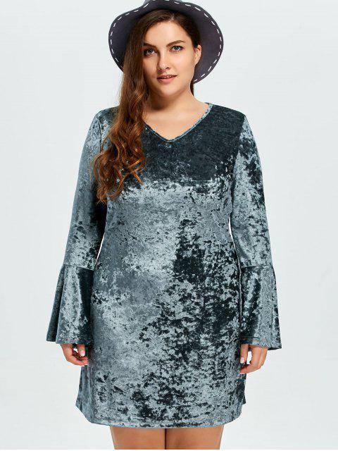 lady Belled Sleeve Plus Size Velvet Dress - GREEN L Mobile