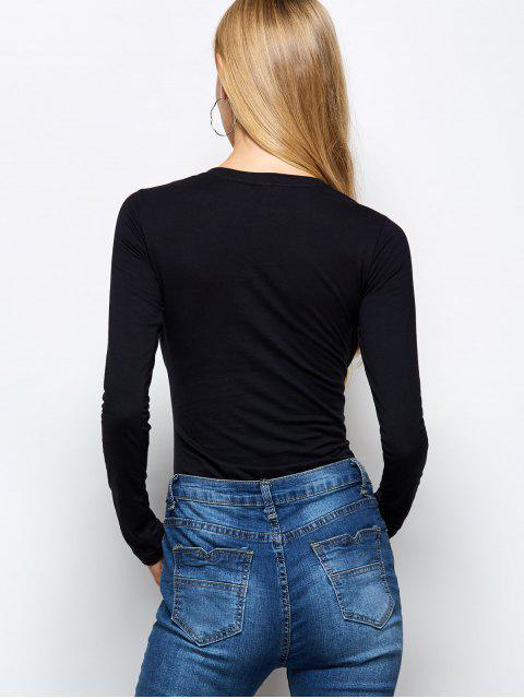 affordable Long Sleeve Cat Print Bodysuit - BLACK L Mobile