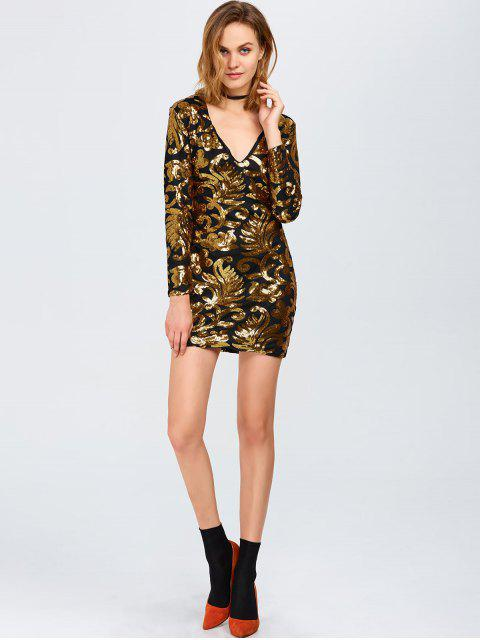 trendy Long Sleeve Sequined Sparkly Dress - GOLDEN L Mobile