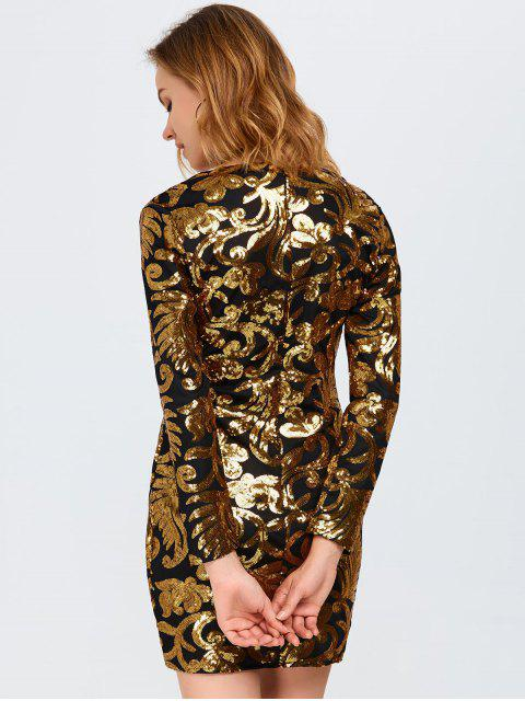 fashion Long Sleeve Sequined Sparkly Dress - GOLDEN M Mobile