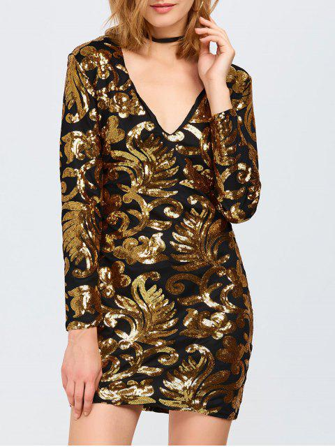 chic Long Sleeve Sequined Sparkly Dress - GOLDEN S Mobile