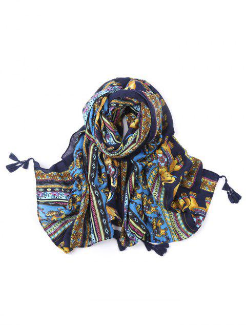 women's Elephant Pattern Tassel Scarf - BLUE  Mobile