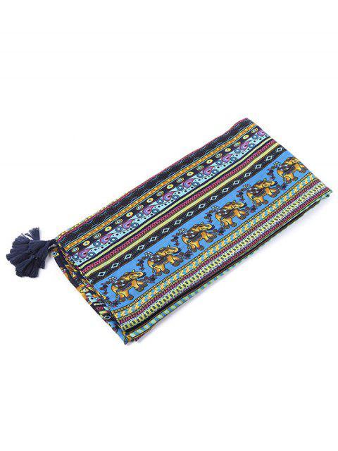 women's Elephant Pattern Tassel Scarf - BLUE  Mobile