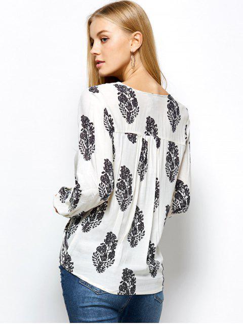 affordable Retro Print Long Sleeve Wrap Peasant Blouse - WHITE 2XL Mobile