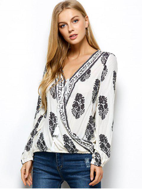 womens Retro Print Long Sleeve Wrap Peasant Blouse - WHITE L Mobile