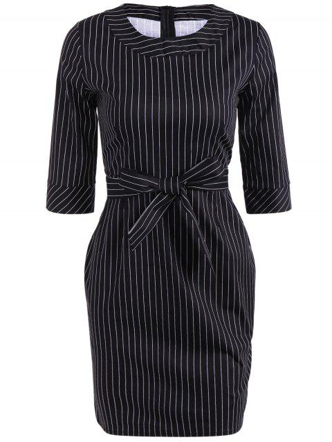 Robe skinny rayée avec ceinture de noeud - Noir 2XL Mobile