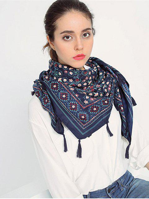 lady Floral Pattern Tassel Pendant Scarf - CADETBLUE  Mobile