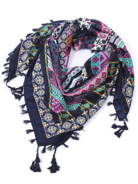 Écharpe à franges motif géométrique éthnique - Bleu Cadette  Mobile