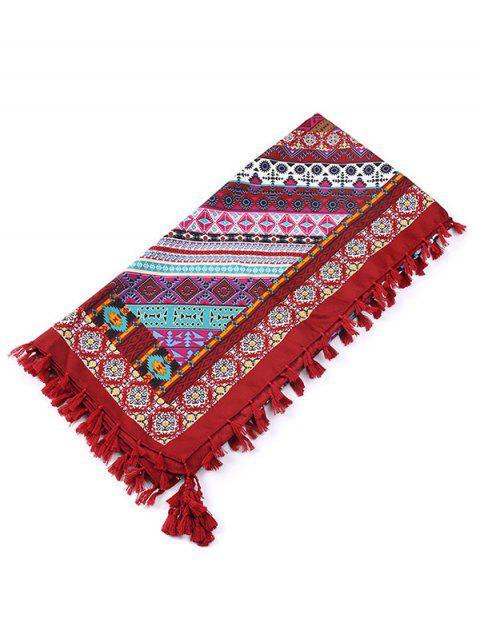Écharpe à franges motif géométrique éthnique - Rouge vineux   Mobile