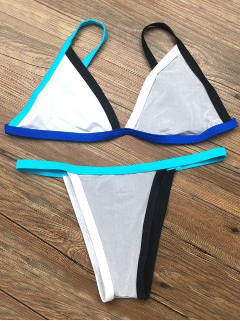 fashion Unlined Color Block Bikini Set - GRAY XL Mobile