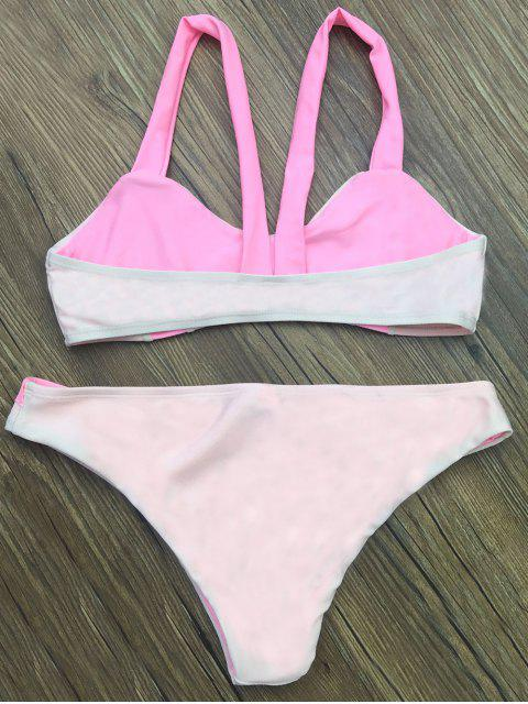 sale Scalloped Color Block Bikini Set - LIGHT PINK XL Mobile