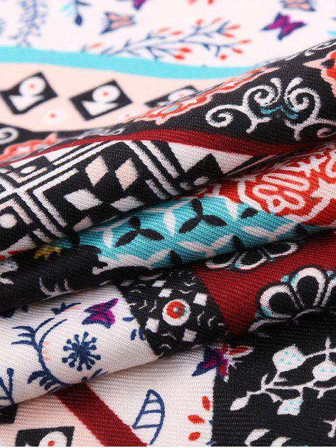 Écharpe à franges motif floral bohémien - Bleu Cadette  Mobile