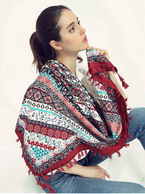 Impresión floral de la borla de la bufanda - Vino Rojo  Mobile