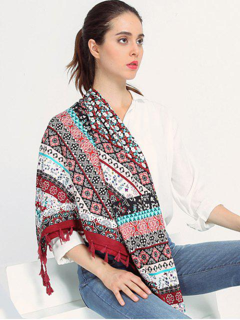 Écharpe à franges motif floral bohémien - Rouge vineux   Mobile