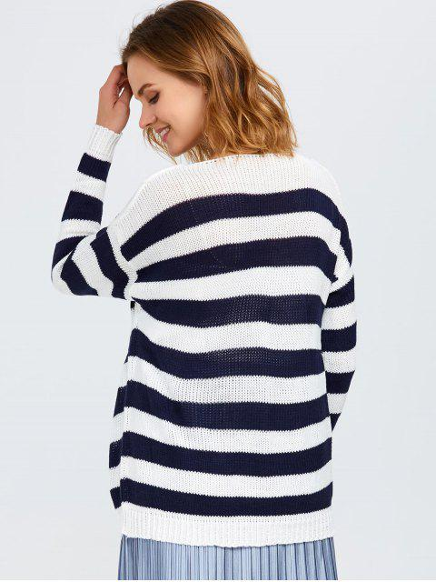 women Round Neck Striped Tunic Sweater - WHITE AND BLACK ONE SIZE Mobile