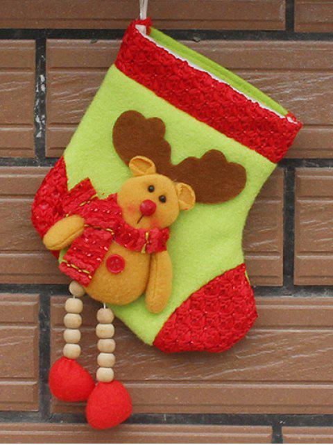 womens Christmas Deer Pattern Hanging Santa Present Sock - YELLOW  Mobile