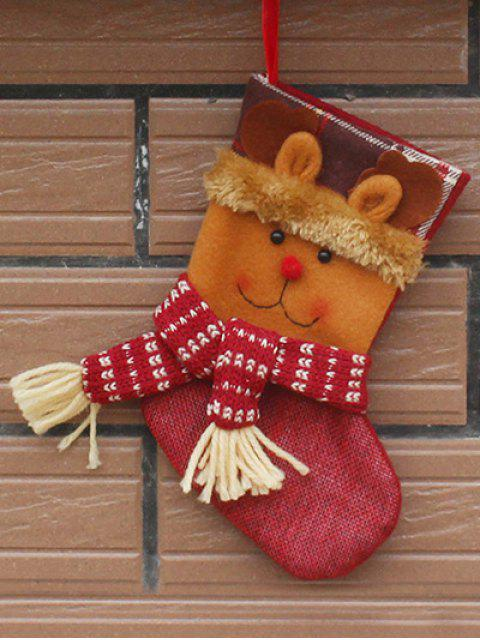 best Christmas Deer Patern Stocking Sock - YELLOW  Mobile
