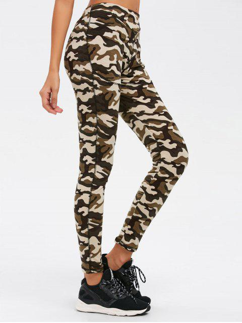hot Camouflage Print Exercise Pants - ARMY GREEN CAMOUFLAGE S Mobile