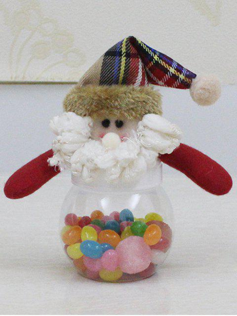 fashion Christmas Cute Plush Santa Toy Candy Jar - TRANSPARENT  Mobile