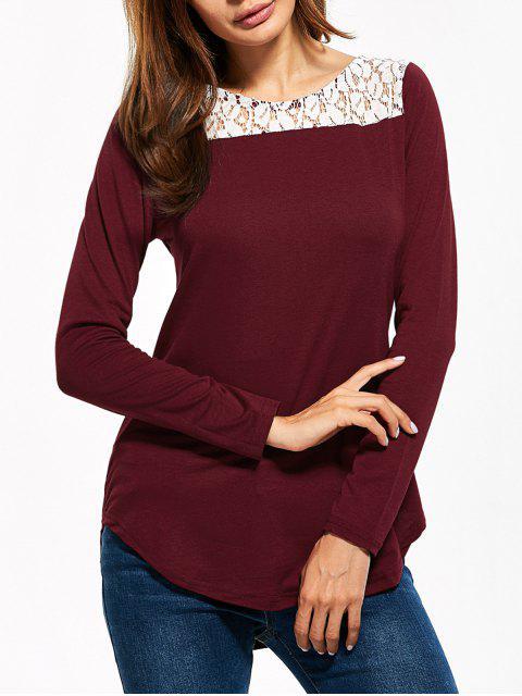 buy Lace Panel Cut Out T-Shirt - BURGUNDY L Mobile