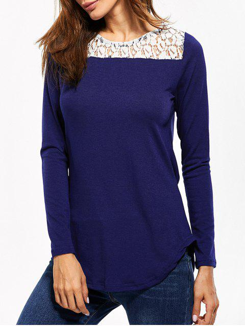 ladies Lace Panel Cut Out T-Shirt - BLUE L Mobile